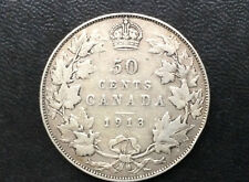 1913 Canada Fifty Cents George V Silver Canadian Coin A2035