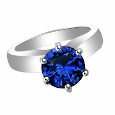 White Gold Over 925 Sterling Silver Blue Sapphire Solitaire Engagement Ring 14k