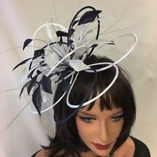 Navy/White Feather Fascinator For Races, Proms , Weddings