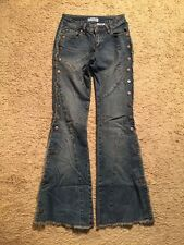 GASOLINE DISTRESSED BUTTONED LEG FLARE JEANS...SIZE 1