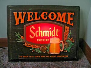 Vintage 1976 SCHMIDT Beer Welcome Light Lighted Bar Sign - Works Great!