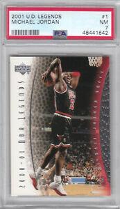 2001 Upper Deck Legends NBA Bulls Michael Jordan Card #1 PSA 7 NM (1642)