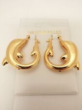 CHARMING YELLOW GOLD FILLED DOLPHIN SHAPE SNAP CLOSURE PIN CATCH EARRINGS