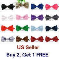 15 Styles Bow Tie Classic Solid Color Mens Adjustable Bowtie Wedding Necktie