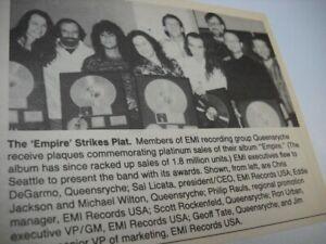 QUEENSRYCHE receive Platinum awards in Seattle vintage music biz promo pic/text