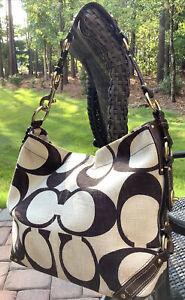 Authentic COACH Carly Signature Hobo Handbag-Brown/Tan No. A0773-10795 Rare