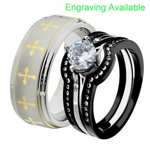 His & Hers Stainless Steel Round CZ Wedding Ring Sets Tungsten Men Band GV