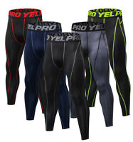 Mens Compression Pants Running Workout Sports Spandex Thermal Base Layer Dri fit