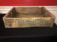 RARE Vintage CHOC-OLA BOTTLE CRATE Carrier Advertising Box Wood Wooden Soda Cola