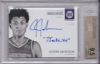 JUSTIN JACKSON RC 2017-18 ENCASED ROOKIE ENDORSEMENT AUTO #/99 BGS 9.5 / 10 AUTO