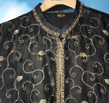 Black Gold Sherwani Indian Pakistani Wedding Bollywood 4pc Ethnic Men Suit 46 XL