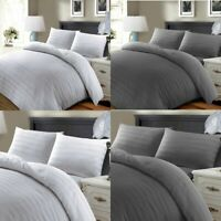 100% Egyptian Cotton 600tc Stripe Duvet Bedding Cover Set Double King SuperKing