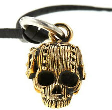 "King Baby Goldtone Alloy Rivet Skull Pendant with 24"" Leather Cord  Necklace"