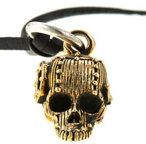 """King Baby Goldtone Alloy Rivet Skull Pendant with 24"""" Leather Cord  Necklace"""
