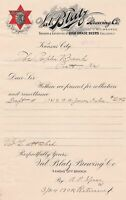 U.S. Val Blatz Brewing Co. Logos Kansas High Class Beers 1902 Invoice Ref 43634