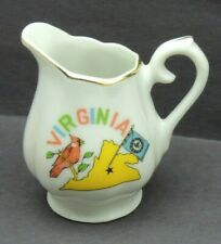 """Vintage Small Pitcher Gold Trim VIRGINIA 3"""" Tall Made In Japan"""