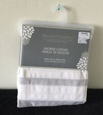 Sanctuary Shower Curtain 100% Cotton Gray White