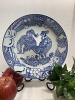"Asian Porcelain Blue & White 12 1/4"" Plate, Chicken Floral Vegetables Design"