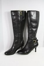 "Ralph Lauren Black 2.75"" Heel Boots 6 M Soft Leather Side Zip Knee 14"" Tall"