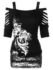 Women's Plus Size Cut Out Tee Tunic T-shirt Tops XL-5XL Shredding Cold Shoulder