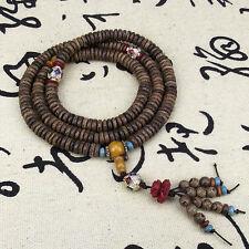 8x3mm Tibet Buddhism 216 Wenge wood Prayer Bead Mala Necklace