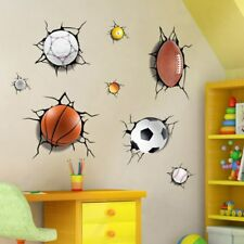 3D Broken Wall Basketball Football Stickers For Kids Rooms TV Background Wall