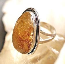 Silberring 53 Bernstein Oval Natur Modern Schlicht Handarbeit Braun Silber Ring