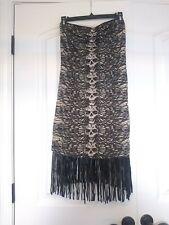 Lip Service Tube Dress Women's Fringe XL Skull Design Blk/Tan punk rock