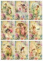 9 Card Toppers Fairies, Victorian, Cardmaking, Scrap Book faery, Craft Supplies