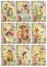 9 Card Toppers Fairies, Victorian, Cardmaking, Scrap Book faery, Craft Supplies