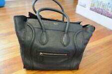 Authentic Celine Square Luggage Tote Bag Handbag Leather Blue Zipper Closure!