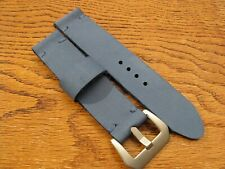 Vintage Style Handmade Blue 'Worn' Thick Leather Watchstrap 22mm Steel Buckle