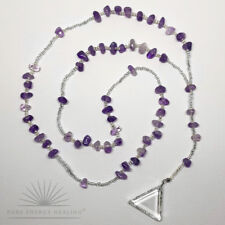 Amethyst Crystal Rosary Beads With Clear Quartz Crystal Triangle Casa Brazil