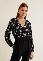 Mango Women's Black Buttoned Printed Blouse UK Size 8 VR143 019