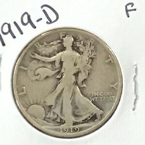 1919-D Walking Liberty Silver Half Dollar   E9162