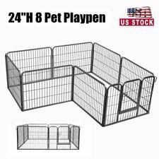 Foldable Dog Pet Playpen Heavy Duty Metal Exercise Fences 8 Panel 24