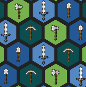 BonEFul Fabric Cotton Quilt Blue Green Minecraft Tool Axe Sword Game Boy L SCRAP