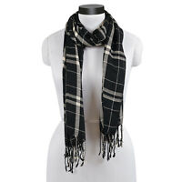 "CARRINGTON BLACK AND CREAM LARGE SCALE PLAID FRINGED SCARF 20X70"" VISCOSE"