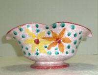 Vintage Art Pottery Bowl or Planter Wavy Edge Floral Pink Signed