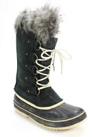 Sorel Womens Lace Up Faux Fur Knee High Boots Gray Black Suede Rubber Size 10