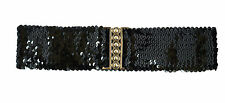 Ladies Women Elastic Stretch Buckle Style Shinning Sequin Waist Belt UK Fast