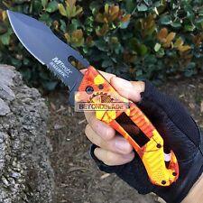 Mtech USA OrangeCamo Handle Solar Pannel LED Light Rescue Pocket Knife MT-A887OC