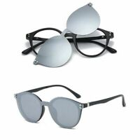 Round Magnetic Clip-on Eyeglass Frames Polarized Sunglasses Vintage Flexible Rx
