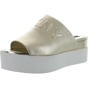 DKNY Womens Covo Silver Slip-On Logo Slides Shoes 7.5 Medium (B,M) BHFO 0292