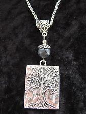 Tree of Life Pendant Larvikite Gemstone Norwegian Moonstone Necklace Pagan