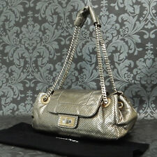 Rise-on CHANEL Punching Calf Skin Leather Bronze Silver Shoulder bag  #1964