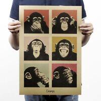 Adornment Home Decor Funny Retro Poster Wall Stickers Kraft Orangutans TR