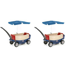 Little Tikes Kids Deluxe Ride and Relax Toy Wagon w/ Umbrella & Cooler (2 Pack)