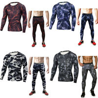 Men/'s Compression Long Sleeve Tee T Shirt Workout Two-piece Suit Pants Trousers
