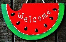 Watermelon Welcome Sign Deck Pool Patio Seasonal Backyard Summer Decor Plaque
